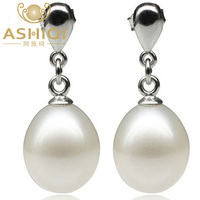 ASHIQI 100% Natural Freshwater Pearl Drop Earrings for women Pearls Jewelry