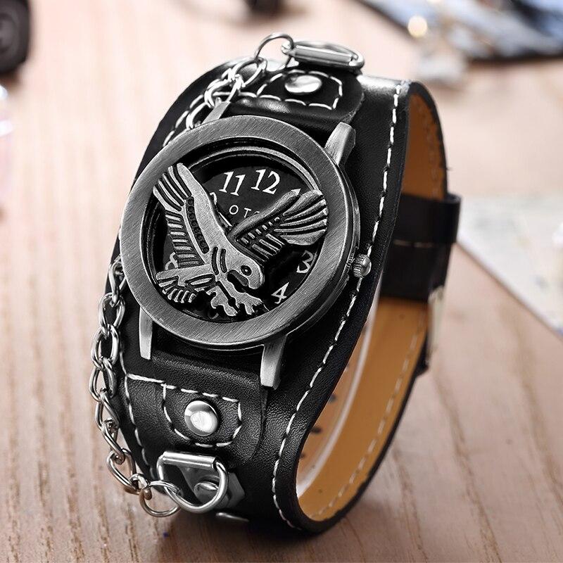 Luxury O.T.SEA Brand Gun Skull Leather Watches Luxury  Men Women Punk Sports Quartz Wrist Watch Orologio Uomo 1831-3