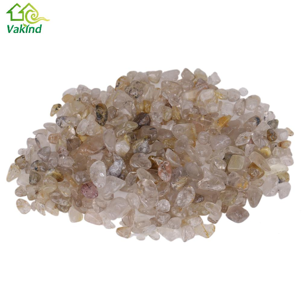 100g 5-12mm Natural Crystal Rutilated Hair Quartz Collectable Home Fish Tank Decor natural stones and minerals Pet Product