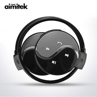 Aimitek Mini 603 Wireless Bluetooth Earphones Sports Stereo Headphones FM Radio MP3 Music Player Micro SD