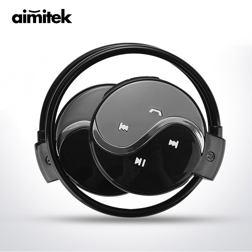 Aimitek Mini 603 Wireless Bluetooth Earphones Sports Stereo Headphones FM Radio MP3 Music Player Micro SD Card Slot with Mic