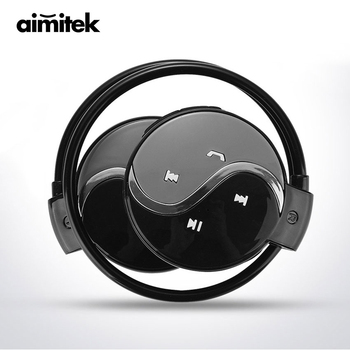 Aimitek Mini 603 Wireless Bluetooth Earphones Sports Stereo Headphones MP3 Music Player Micro SD Card Slot with Mic for Phones