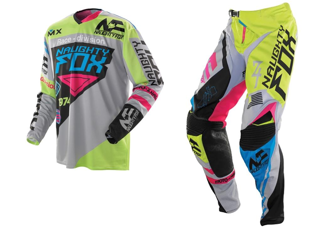 2018 NAUGHTY Fox 360 MX Gear Set Motocross ATV Dirt Bike Off-Road Race Gear Pant & Jersey Combo Green/Grey free shipping naughty fox jersey