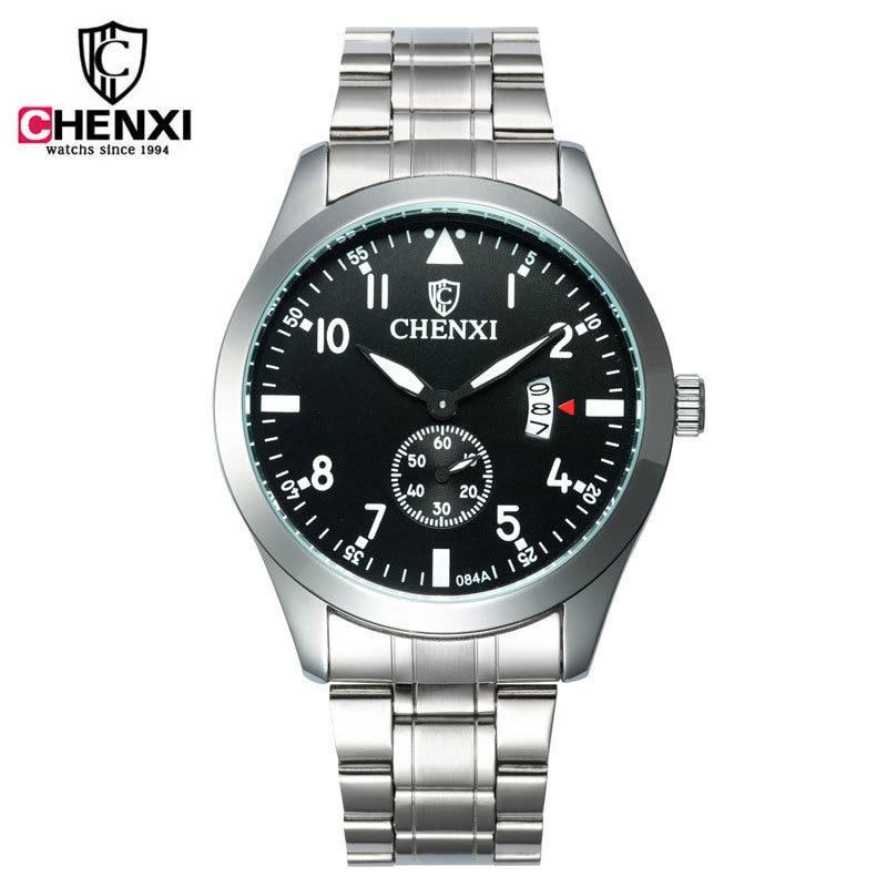 100% New CHENXI Sport Dress Full Stainless Steel Backlight Quartz Wrist Watch Men Male Wristwatches Gift /w Calendar 084A