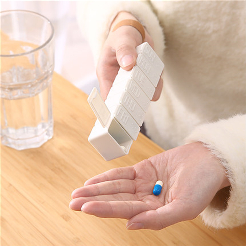 1Pcs White Pill Box 7 Days Weekly Pillbox Medicine Holder Plastic Storage Container For Medicines Tablet Separator Health Care 1