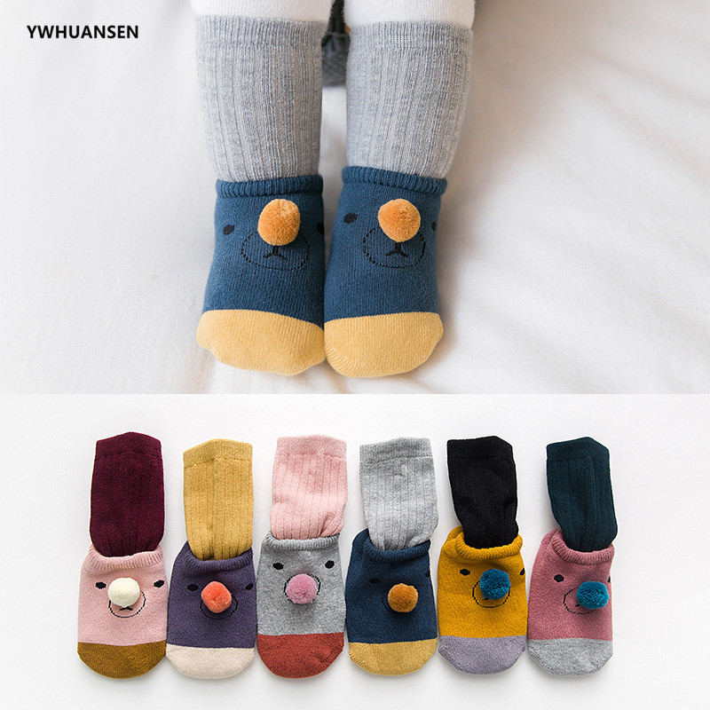 YWHUANSEN 2 Pairs/lot 0 To 24M Autumn Winter Cotton Baby Socks For Newborn Children's Anti-skid Floor Socks For Toddler Girl Boy