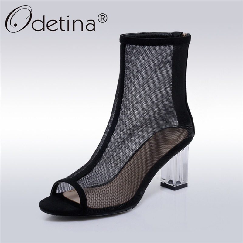 odetina 2017 back strap sandals for women chunky heel sandals peep toe square buckle ladies summer shoes mid heel big size 34 43 Odetina 2017 New Fashion Woman Summer Mesh Boots Square High Heel Ankle Boots Peep Toe Ladies Sandal Boots Shoes Big Size 34-42