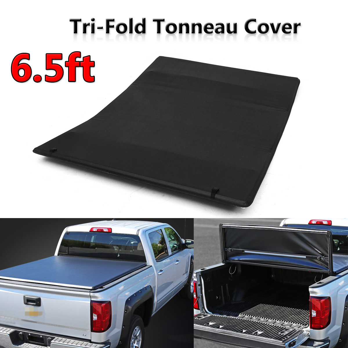 Tonneau Cover Soft Tri Fold for Chevy for GMC Sierra Silverado Pickup 6.5ft Bed ksp 4 1 25mm chevy 6 lug wheel spacers adapters 6x5 5 to 6x5 5 139 7 108mm bore m14x1 5 studs for silverado gmc sierra 1500