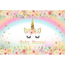 7x5ft Unicorn Backdrop Birthday Party Background Newborn Baby Shower Backdrops for Photo Shoot Vinyl Cloth Seamless G-639 7x5ft purple unicorn newborn baby shower custom photo studio backdrops background polyester 220x150cm