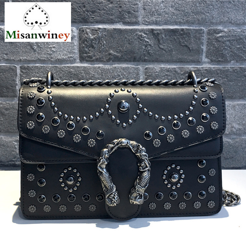 Luxury Brand Women Chain Messenger Shoulder Bags Diamond Rivet Leather Handbag Clutch Purse Famous Designer Locks Crossbody Bags 2017 luxury handbags black women bags designer women s bag rivet chain messenger shoulder bags female skull clutch famous brand