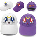 Hot Sale Anime Sailor Moon Purple Cat Luna baseball hat March Hare sun hat Animation around gift