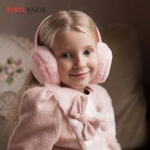 Autumn and winter childrens solid color earmuffs boys girls headphones warm comfortable ski fashion