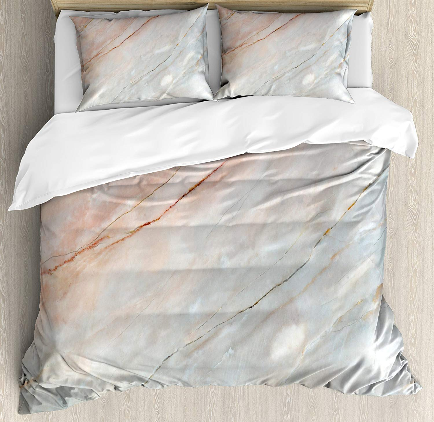 Marble Duvet Cover Set, Onyx Stone Textured Natural Featured Authentic Scratches Artful Illustration 4 Piece Bedding Set