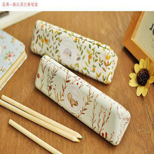 Languo Triangle Pencil Cases Kawaii Animal Metal Box High Quality School Office Stationery Hold Squirrel Hedgehog Pen