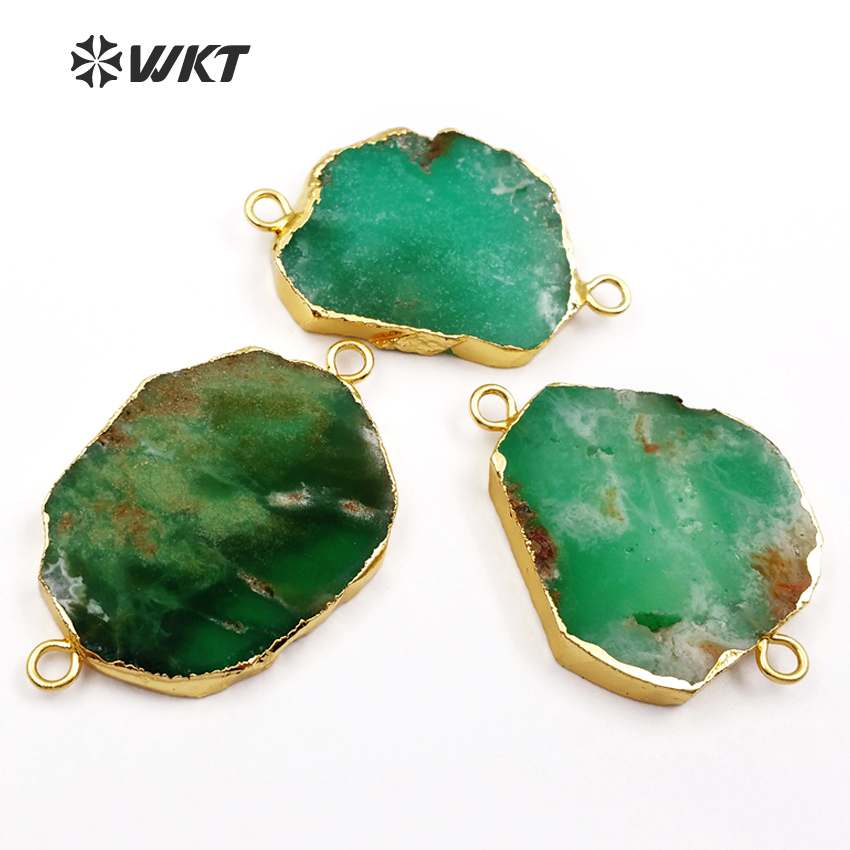 WT C171 HOT SALES double loops Chrysoprase connector , 24k gold trim dark green natural chrysoprase connector jewelry-in Pendants from Jewelry & Accessories    2