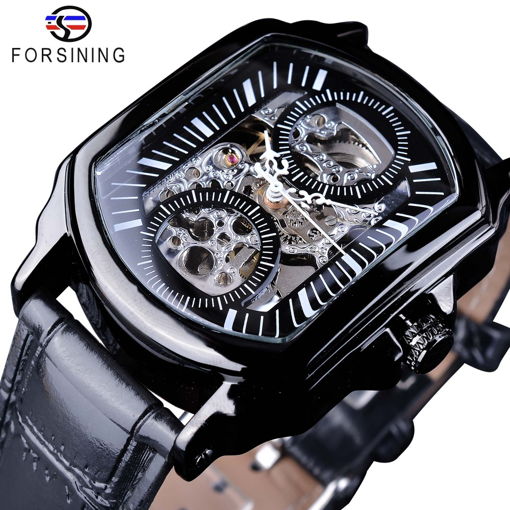 Forsining 2018 Black Display Openwork Clock White Hands Unique Two Small Circle Design Men's Automatic Watches Top Brand Luxury