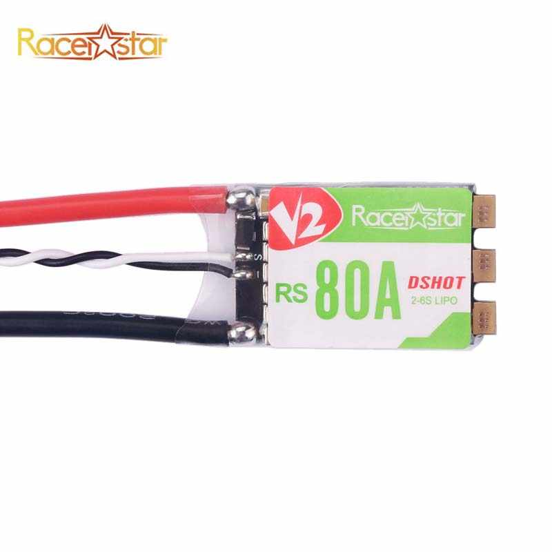 Racerstar RS80A V2 80A BLheli_S BB2 2-6 S DShot600 listo sin escobillas ESC incorporado LED RGB para RC Drone piezas de bricolaje de Marco cuadricóptero