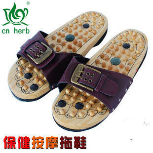 Cn Herb Magnetic Therapy Plus Jade Acupuncture Points Foot Wood Massage Slippers Health Foot Massage Massage Foot Massage цены