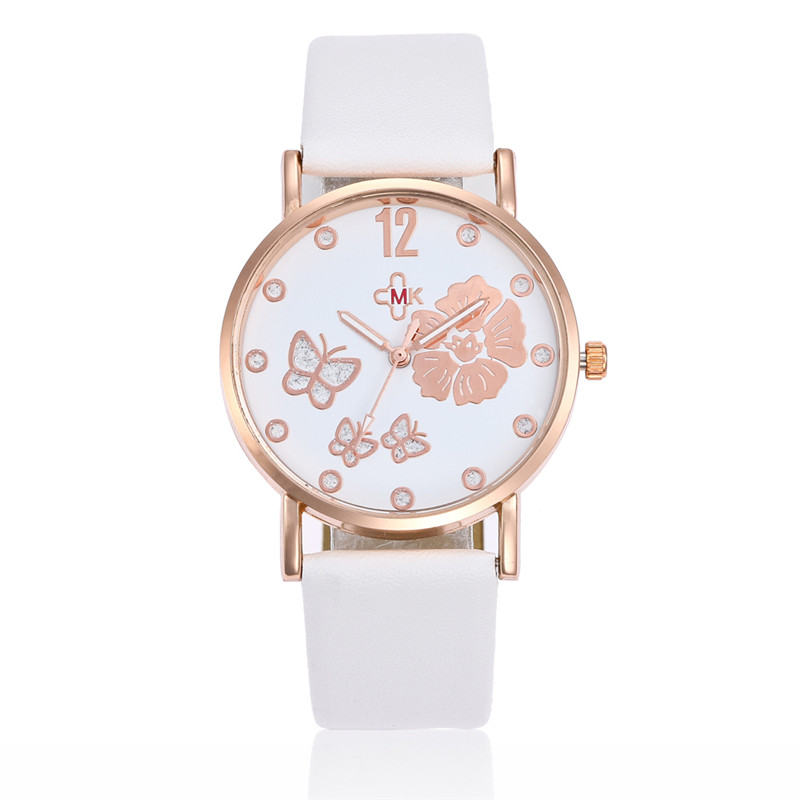MJARTORIA Rhinestone Women's Wrist Watch Leather Quartz Hours Floral Numerals Clock Feminino Ladies Watch For Dropshipping