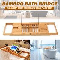Extendable Bamboo Bathtub Caddy Tray Adjustable Bath Tub Rack Bathroom Tub Shelf Wine Book Holder Storage Oganizer