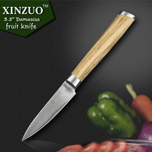 XINZUO 3.5″ inch fruit knife Damascus steel kitchen knives High Quality  paring knife senior kitchen tools FREE SHIPPING