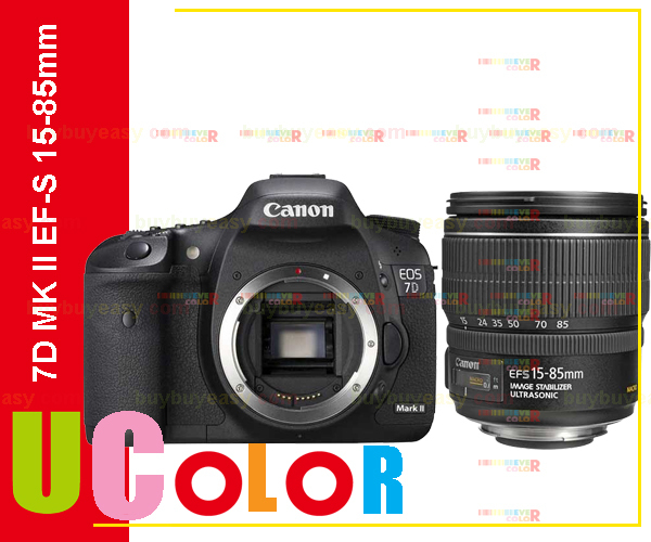 Canon EOS 7D Mark II DSLR Camera Body with EF-S 15-85mm f3.5-5.6 IS USM Lens new canon eos 7d mark ii mk 2 dslr camera body black multi languages