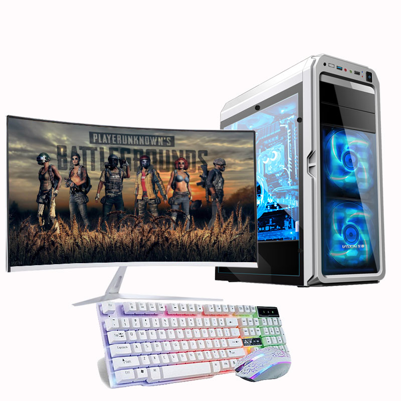 Wholesale desktop computer cpu i7 Ram 8GB HDD 480GB gaming desktop computer pc with <font><b>32inch</b></font> <font><b>monitor</b></font> image