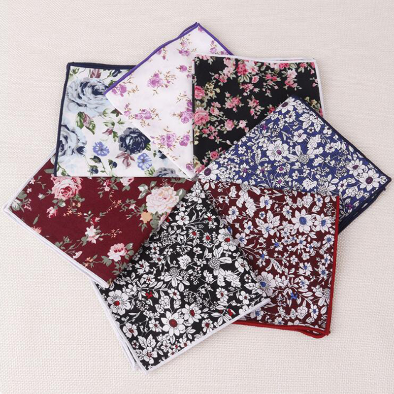 RBOCOTT Fashion Floral Handkerchief Men's Cotton Pocket Squares Vintage Red Paisley Hanky White For Men Party Wedding Accessory