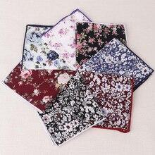 RBOCOTT Fashion Floral Handkerchief Men's Cotton Pocket Squares Vintage Red Paisley Hanky White For Men Party Wedding Accessory