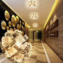 LAIMAIK AC90-260V 5W 3W Round Modern Led Crystal Ceiling Light Corridor Decoration Lamps For Living Room Indoor Lighting