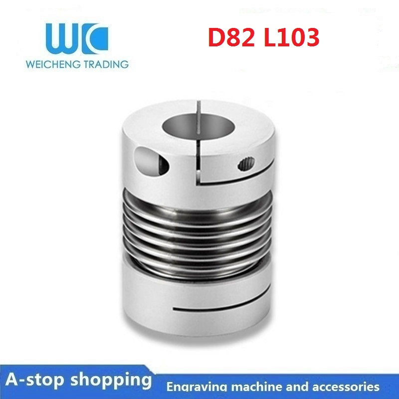 Aluminum alloy clamped bellows coupling high torque D82 L103 model 20,22,24,25,28,30,32,35,38,40,42mmAluminum alloy clamped bellows coupling high torque D82 L103 model 20,22,24,25,28,30,32,35,38,40,42mm