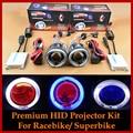 Motorcycle Bike HID BI XENON Projector Lens Headlamps Full Kit for Motorcycle Headlight Angel Halo Devil Eyes 4300K 6000K 8000K