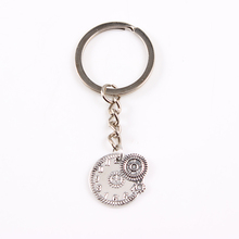 2017 New Classic Steampunk Keychain & Keyring Key Chains Gear Antique Silver Color 6pcs/lot