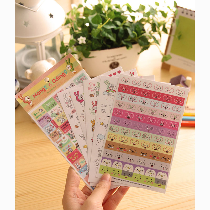 6 Sheets/pack Cute Kawaii Rabbit Adhensive Decorative Sticker DIY Stick Label Phone Computer Decor School Student Stationery
