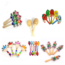 High Quality Baby Wooden Maraca Hand Shake Rattles Kids Children Wood Color Sand Ball baby rattle Educational Toy C02