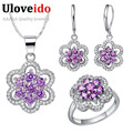 Fashion Rhinestone Elegant Women Wedding Luxury Purple Costume Jewelry Sets Cubic Zirconia Necklace Earrings 2017 Uloveido T490