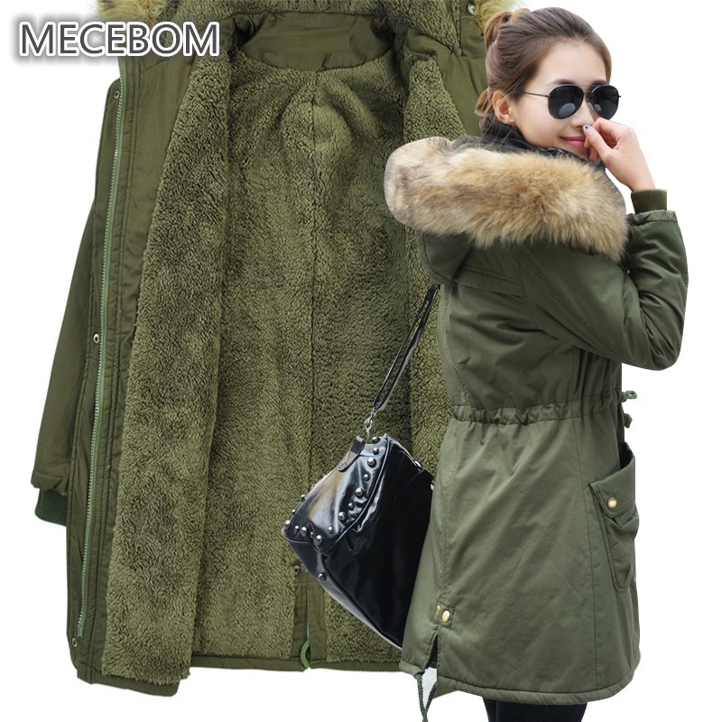 MECEBOM Fashion Autumn Warm Winter Jackets Women Fur Collar Long   Parka   Plus Size 4xl Casual Cotton Womens Outwear   Parka   1223c