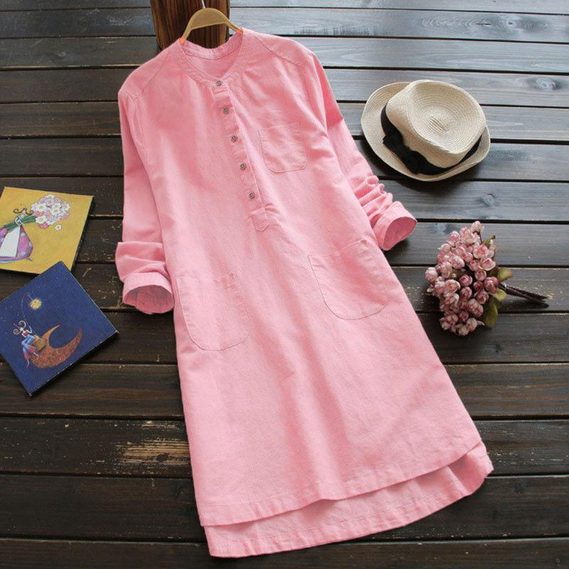 244403ec03414 5 Colors Womens Cotton Linen Summer Dress Long Sleeve Casual Boho Kaftan  Tunic Gypsy Ethnic Dresses Female Beach Party Outfits