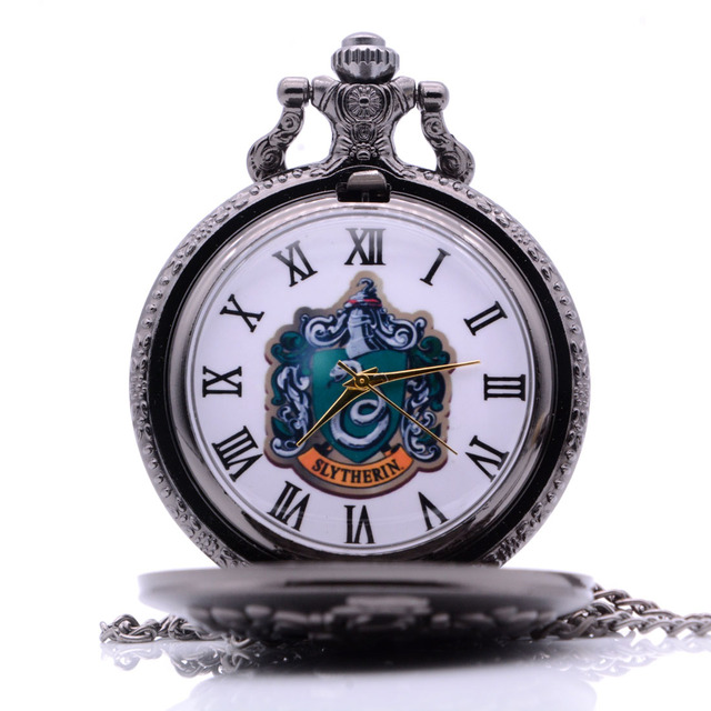 Vintage Antique Harry Potter SLYTHERIN Mens Womens Quartz Pocket Watch Analog Pe
