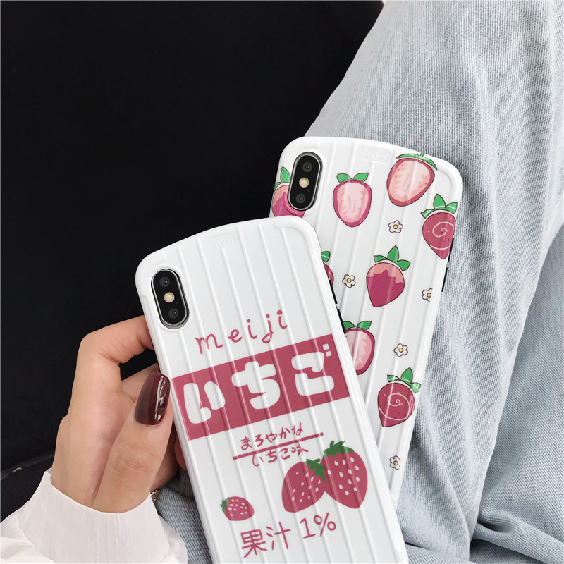 Cute Fresh Fruit Pattern Female Phone Cover Case For Iphone X Xs Max Xr 10 8 7 6 6s Plus Luxury Soft Silicone Girl Coque Fundas in Fitted Cases from Cellphones Telecommunications