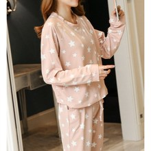 2018 Stars Print Pullover And Pants Pajama Set Autumn Pink Long Sleeve Round Neck Women Clothing Pocket Casual Pajama Set