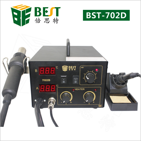 free shipping BST 702D,2 in1, one digital lead free spiral type hot air gun+rework stations+ iron/ heat gun
