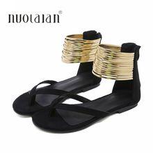 Women Summer Casual Flat Sandals Gladiator Flip Flops Ankle