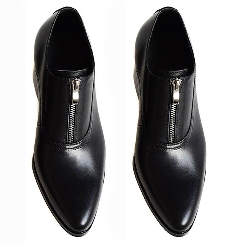 Consiglia!! Mens Zip Tacco Alto Scarpe Intensificare Scarpe Da Sposa Uomo di Affari scarpe A Punta Formali Pattini di Vestito Alla Moda Oxfords Partito-in Oxford da Scarpe su  Gruppo 2
