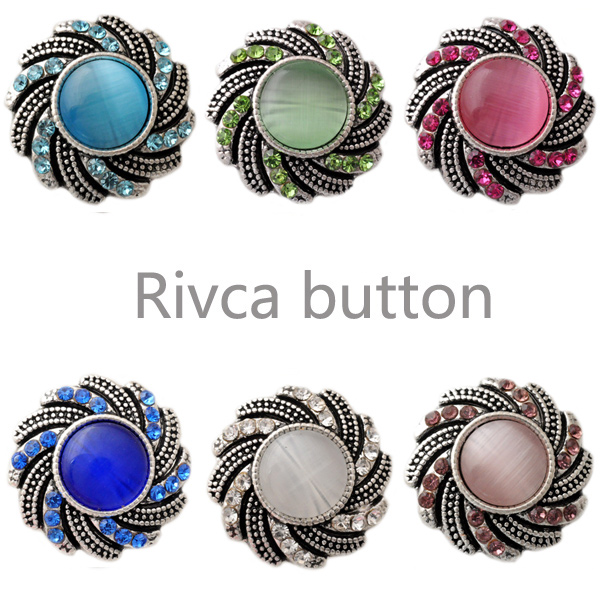 D02551 Wholesale 4 Color  Charm Rhinestone Styles Metal Ginger Snap Button Fit Snap Button Bracelets For Woman Rivca Jewelry