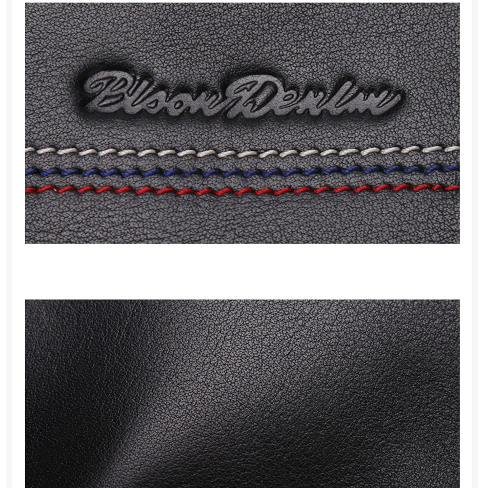 Image 5 - BISON DENIM Male Clutch Genuine Leather Mens Wallet Long Wallet 