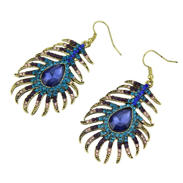 Basketball Wives Crystal Peacock Dangle Earrings
