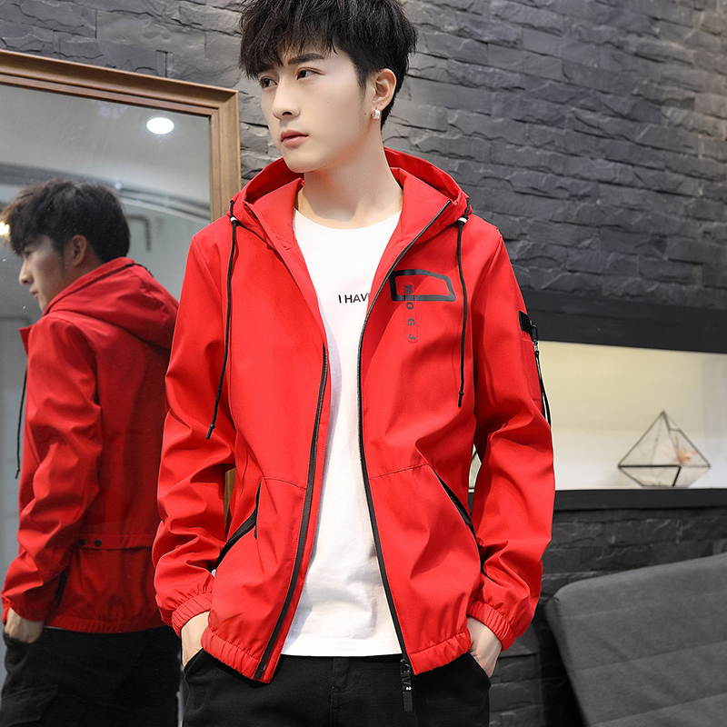 ya963 Korean version of the long windbreaker men's spring and autumn casual tide brand hooded jacket Japanese trend loose