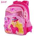 Barbie primaria ortopédica bolsas escuela de dibujos animados mochila para niñas cartera niños/kids book/estudiante bolsas duro grado 1-3