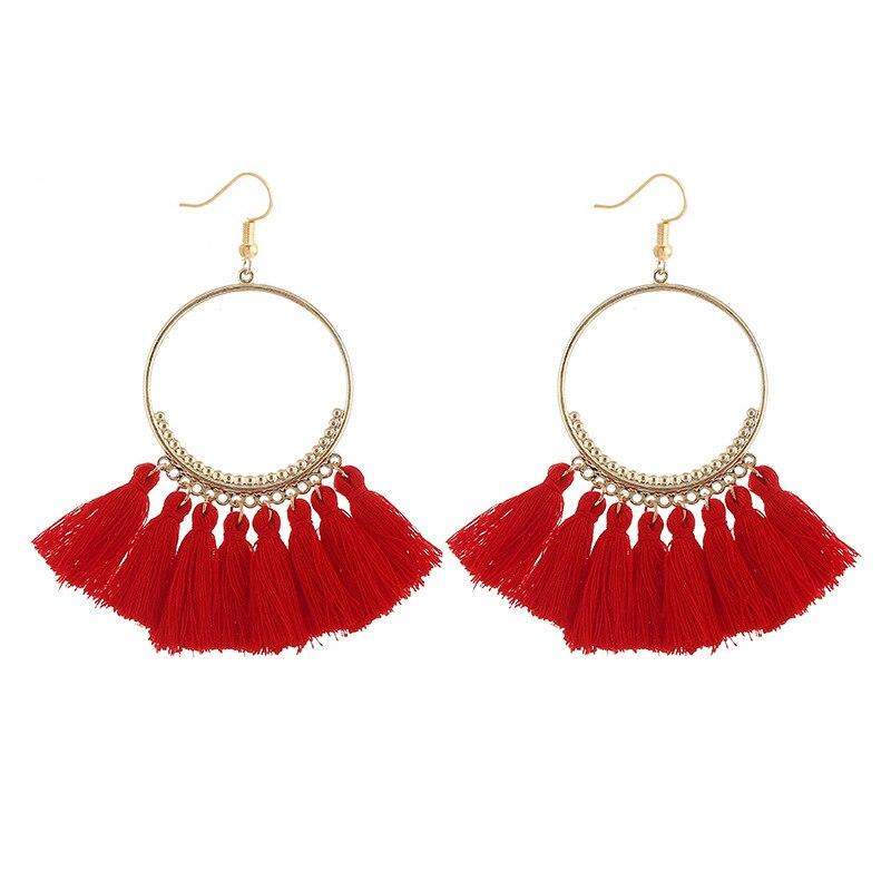 cjh003 Christmas Hoops Tassle Tassel Earrings Drop Fringe Earrings